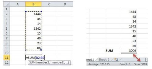 Sum Function, note the auto sum, average, and count feature
